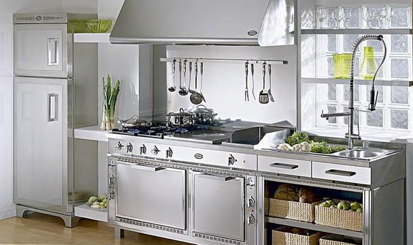 Arredamento delle cucine l inox il materiale principe trendystyle - Alzatina cucina acciaio ...